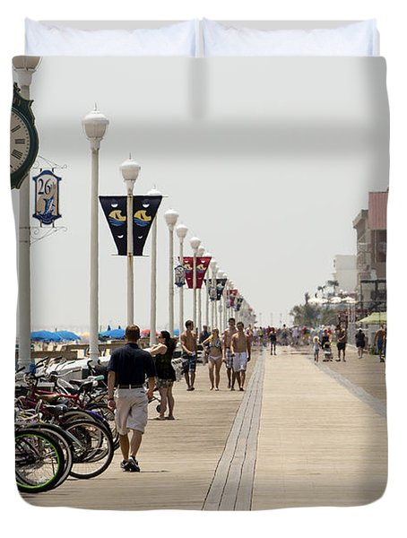 Heat Waves Make The Boardwalk Shimmer In The Distance Duvet Cover