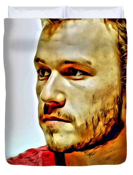 Heath Ledger Portrait Duvet Cover by Florian Rodarte