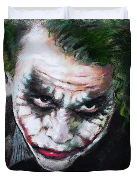 Heath Ledger The Dark Knight Duvet Cover by Viola El