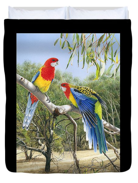 Heatwave - Eastern Rosellas Duvet Cover
