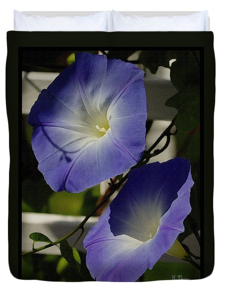 Heavenly Blue Morning Glory Duvet Cover