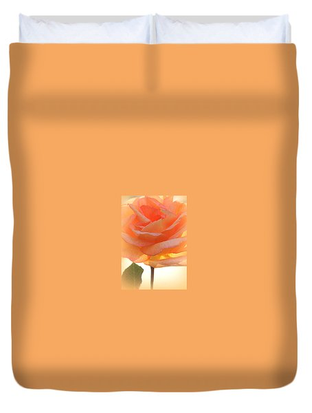 Duvet Cover featuring the photograph Heaven's Peach Rose by The Art Of Marilyn Ridoutt-Greene