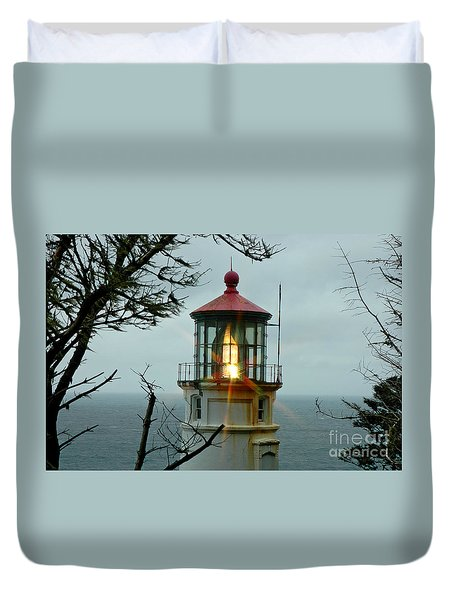 Duvet Cover featuring the photograph Heceta Head Lighthouse by Nick  Boren