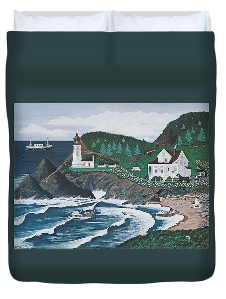 Duvet Cover featuring the painting Heceta Lighthouse by Jennifer Lake