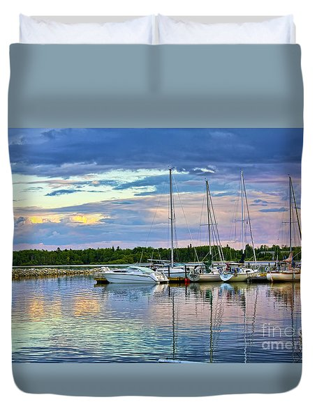 Duvet Cover featuring the photograph Hecla Island Boats II by Teresa Zieba