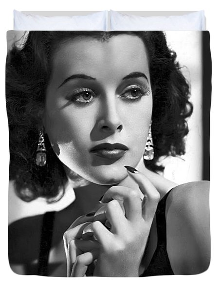 Hedy Lamarr - Beauty And Brains Duvet Cover by Daniel Hagerman