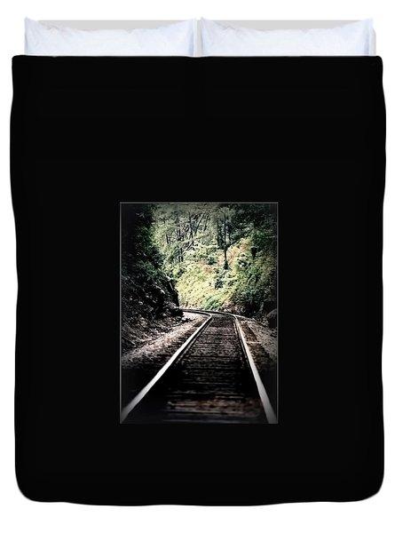 Hegia Burrow Railroad Tracks  Duvet Cover by Lesa Fine