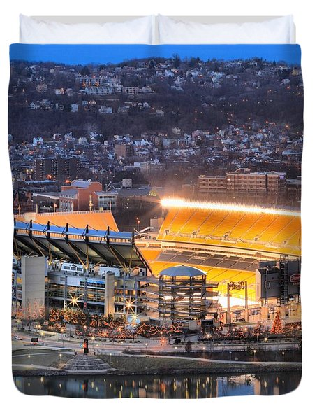 Heinz Field At Night Duvet Cover by Adam Jewell
