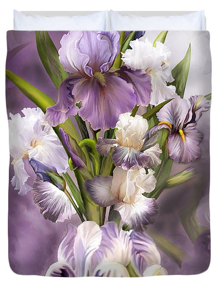 Heirloom Iris In Iris Vase Duvet Cover by Carol Cavalaris