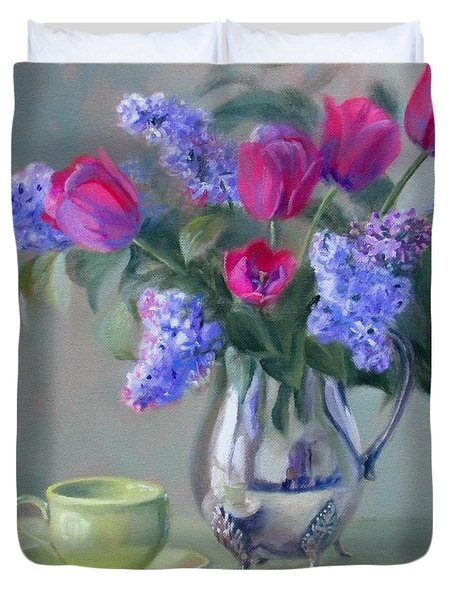 Heirlooms- Lilacs And Tulips In A Silver Pitcher Duvet Cover