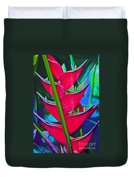 Heliconia Abstract Duvet Cover