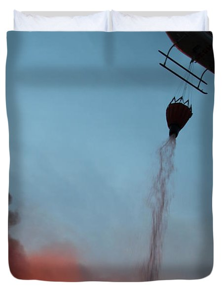 Duvet Cover featuring the photograph Helicopter Drops Water On White Draw Fire by Bill Gabbert