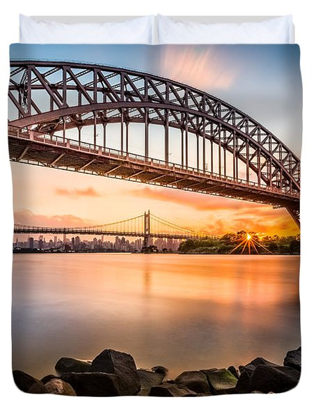 Hell Gate And Triboro Bridge At Sunset Duvet Cover by Mihai Andritoiu