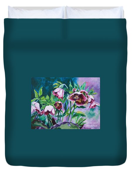 Hellebore Flowers Duvet Cover