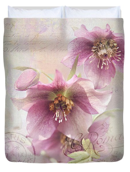 Duvet Cover featuring the photograph Hellebore by Sylvia Cook