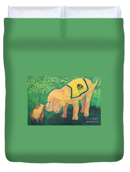 Duvet Cover featuring the painting Hello - Cci Puppy Series by Donald J Ryker III