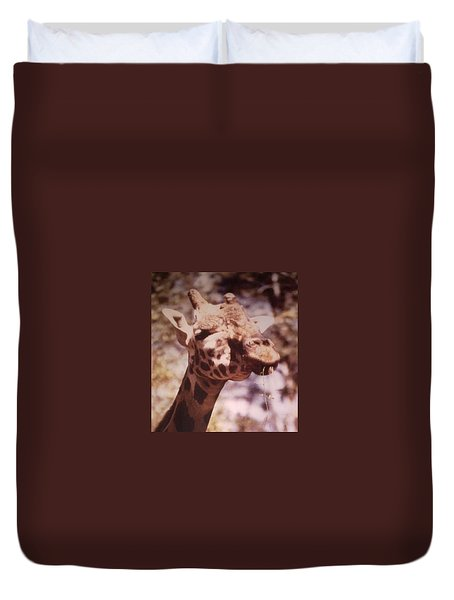 Duvet Cover featuring the photograph Velvety Giraffe by Belinda Lee