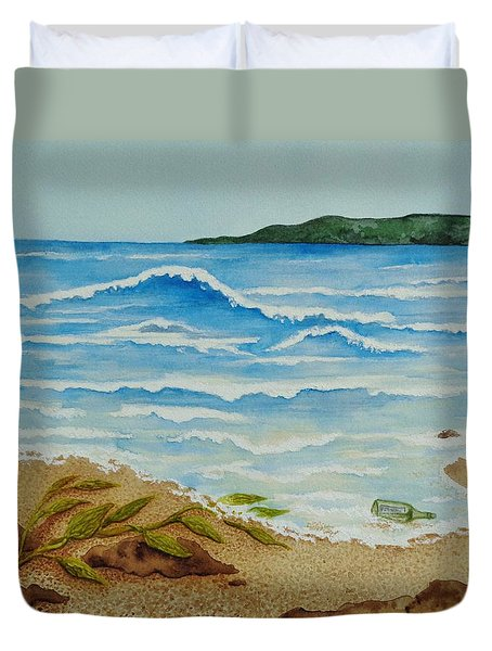 Duvet Cover featuring the painting Hello? by Katherine Young-Beck
