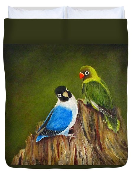 Duvet Cover featuring the painting Hello by Roseann Gilmore