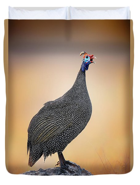 Helmeted Guinea-fowl Perched On A Rock Duvet Cover