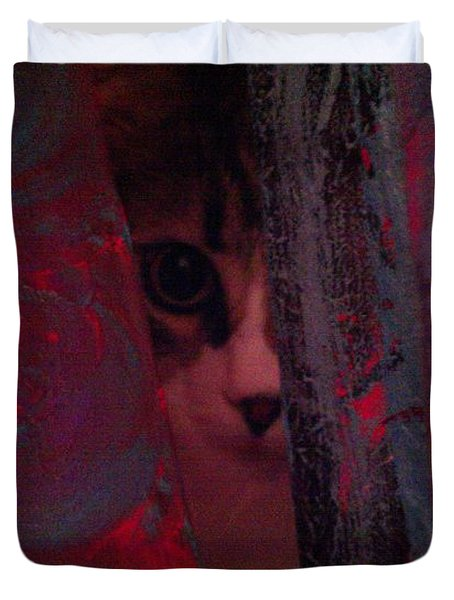 Duvet Cover featuring the photograph Helping In The Art Studio by Jacqueline McReynolds