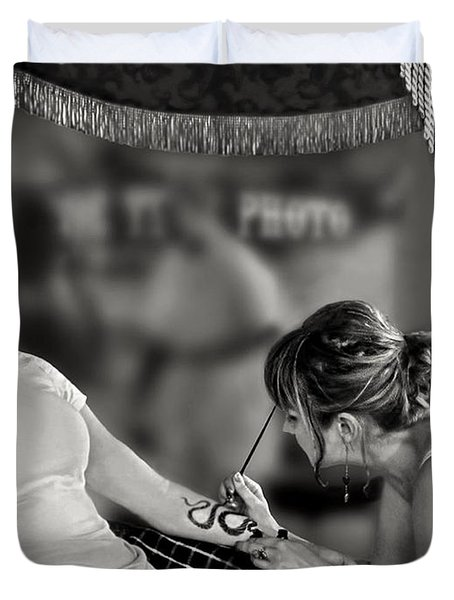 Duvet Cover featuring the photograph Henna At The Fair by Jennie Breeze