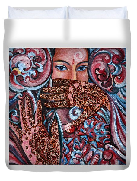 Duvet Cover featuring the painting Henna by Harsh Malik