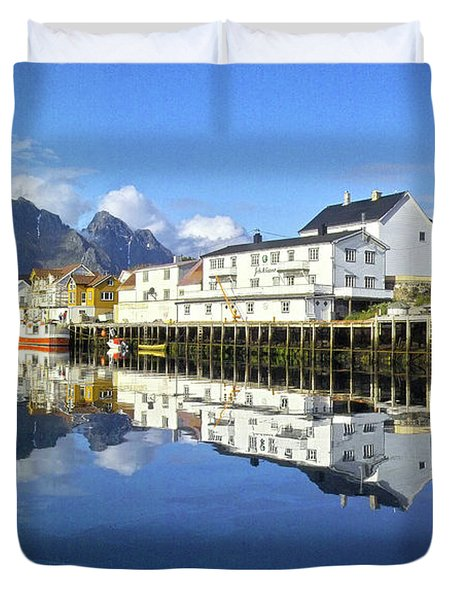 Henningsvaer Harbour Duvet Cover