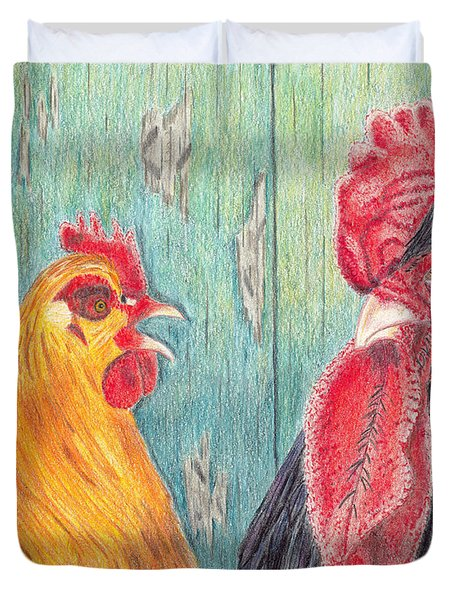 Duvet Cover featuring the drawing Henpecked by Arlene Crafton