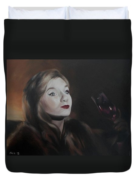 Duvet Cover featuring the painting Henrietta by Cherise Foster