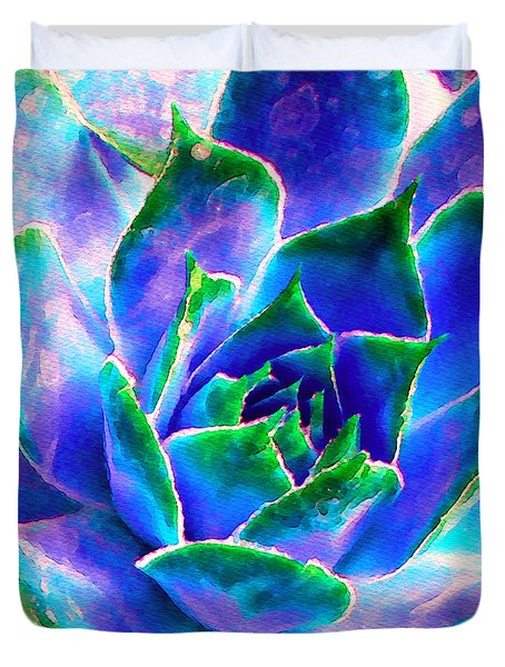 Hens And Chicks Series - Touches Of Blue  Duvet Cover by Moon Stumpp