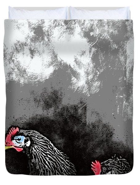 Hens At Rest Duvet Cover by George Pedro
