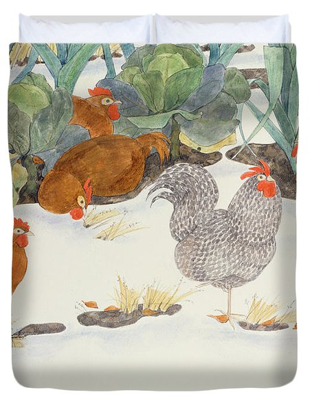 Hens In The Vegetable Patch Duvet Cover