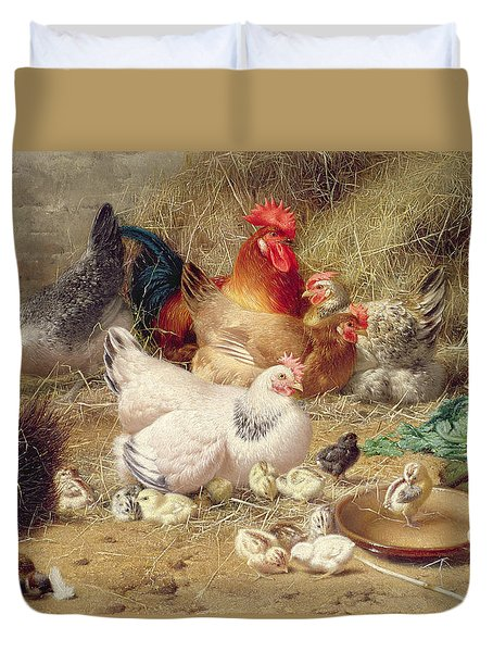 Hens Roosting With Their Chickens Duvet Cover by Eugene Remy Maes