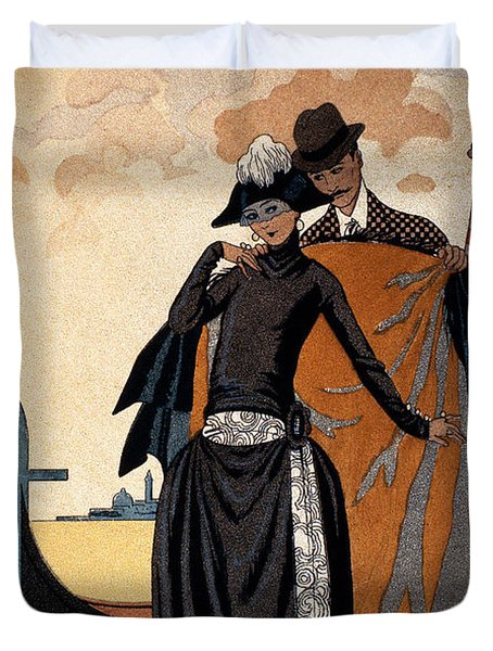 Her And Him Duvet Cover by Georges Barbier