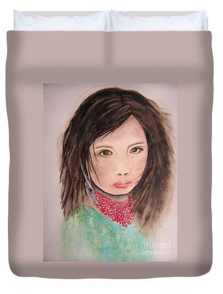 Duvet Cover featuring the painting Her Expression Says It All by Chrisann Ellis