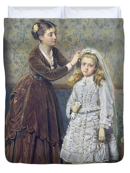 Her First Communion Duvet Cover by George Goodwin Kilburne