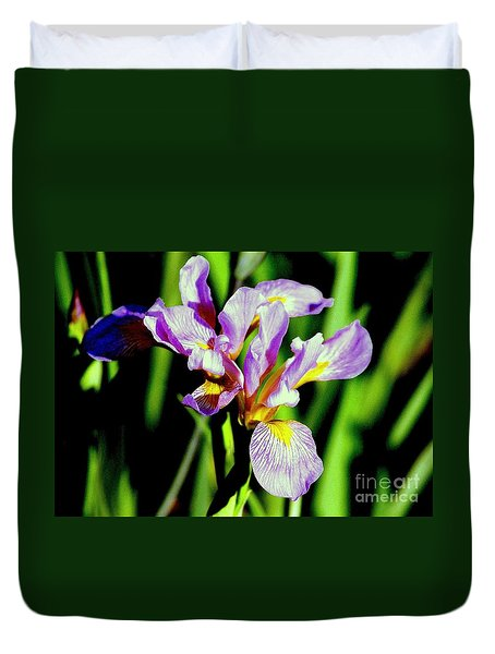Duvet Cover featuring the photograph Iris Her Queen Majesty by Michael Hoard