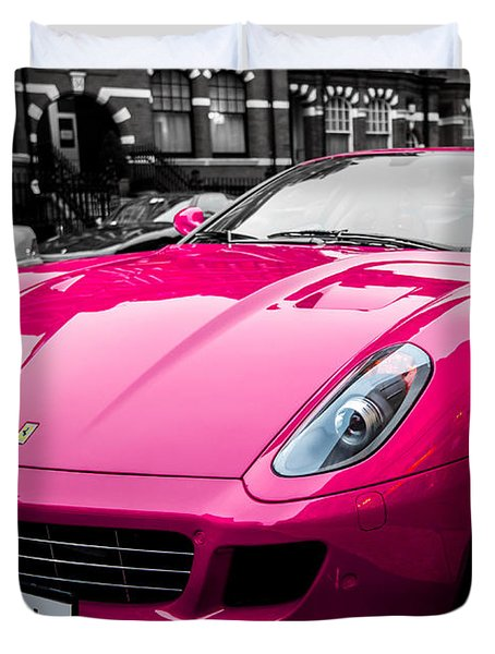 Her Pink Ferrari Duvet Cover by Matt Malloy