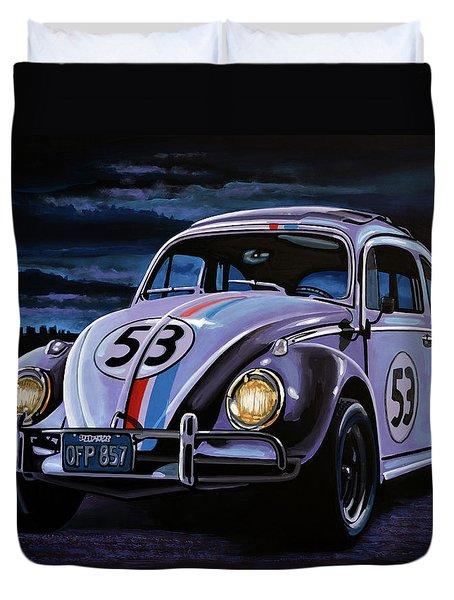 Herbie The Love Bug Painting Duvet Cover