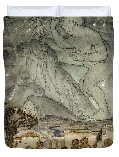 Hercules Supporting The Sky Instead Of Atlas Duvet Cover by Arthur Rackham