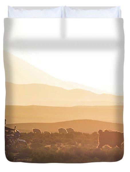 Herd Of Llamas Lama Glama In A Desert Duvet Cover by Panoramic Images
