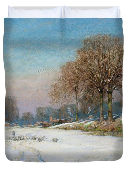 Herding Sheep In Wintertime Duvet Cover by Frank Hind