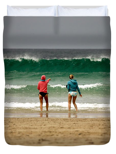 Duvet Cover featuring the photograph Here Comes The Big One by Terri Waters
