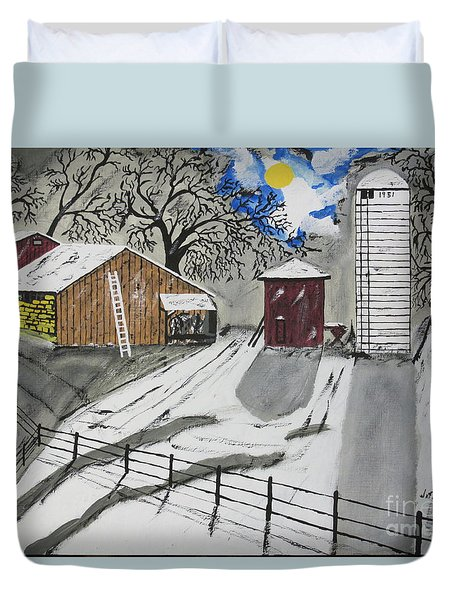 Duvet Cover featuring the painting Here Comes The Sun by Jeffrey Koss