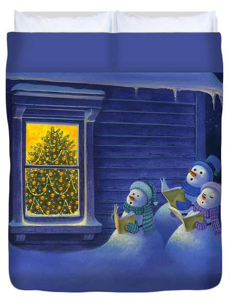 Duvet Cover featuring the painting Here We Come A Caroling by Michael Humphries