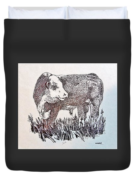 Polled Hereford Bull  Duvet Cover by Larry Campbell