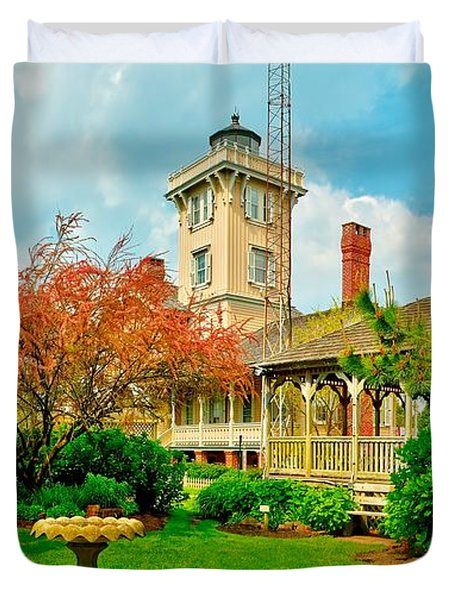Hereford Inlet Lighthouse Garden Duvet Cover