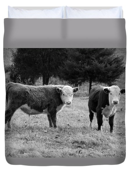 Hereford Portrait V In Black And White Duvet Cover