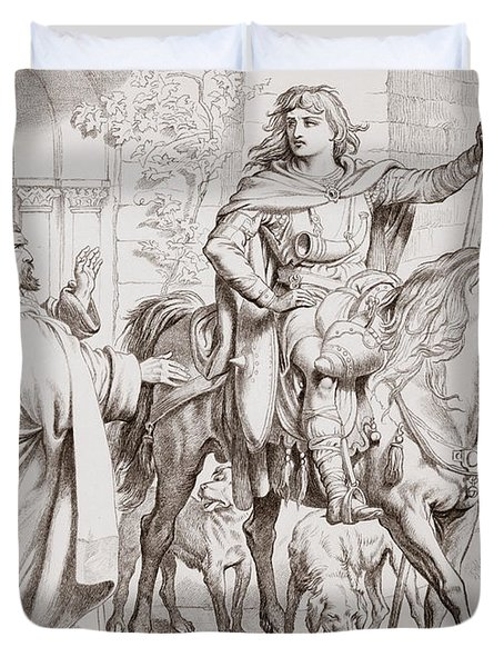 Hereward Informs His Uncle The Prior That He Is About To Be Outlawed Duvet Cover